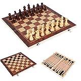 Berrywho 3 in 1 set di scacchi in legno pieghevole, scacchi dama set da backgammon, scacchiera da viaggio portatile giochi set di scacchi per bambini e adulti (44x44 cm)