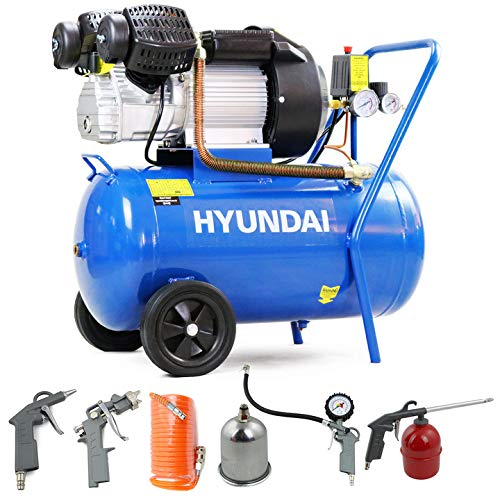 Hyundai Electric HY3050V, 50L, 14CFM, 3HP, 2.2kW, 50 Litre, 8bar / 116psi, Powerful, Includes 5 Piece Tool Kit, Portable Air Compressor, 2 Year Warranty, Blue, 740 X 380 X 740