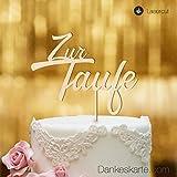 Dankeskarte.com Cake Topper Zur Taufe Zweizeilig - für die Tauftorte - Buchenholz - XL -...