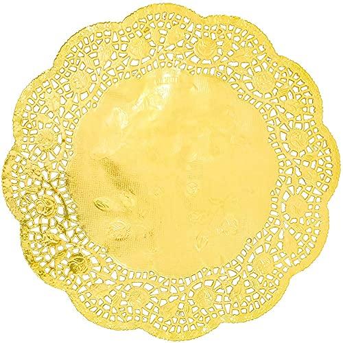 Juvale Papier-Spitzendeckchen Rund (Set, 100 Stück) - Zierdeckchen, Tischset, Platzdeckchen - Ideal für Hochzeiten, Formelle Events - Goldfarben, 25,4 cm Durchmesser