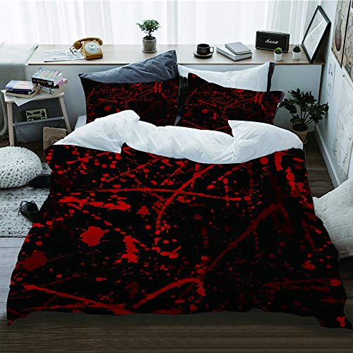 WOTAKA Bettwäsche-Set 3 teilig,Nahtloses Muster mit Blutflecken,Mikrofaser Bettbezug und Kissenbezug (1 * 220 x 240cm + 2 * 50x 80 cm)