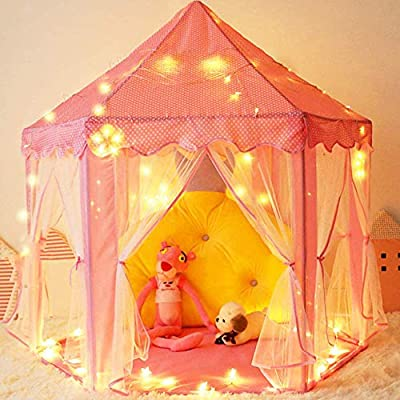 "Mooner Girls Play Pink Tent Toys 55x53"" Princess Large Playhouse with 40 Star Lights for Children Indoor and Outdoor Games"