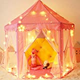 MsWay Girls Play Tent Princess Large Playhouse Toys for Children Indoor and Outdoor Games with 40 Star Lights