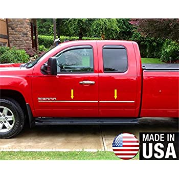 Made in USA Works with 07-13 GMC Sierra Crew Cab Body Side Molding Trim Top 1 Wide 4PC Overlay