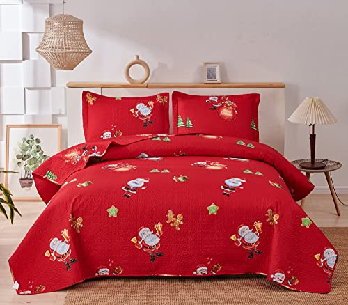 Christmas Quilt Set Full/Queen Size Red 3-Piece Reversible Xmas Bedspread Coverlet with Santa Claus for New Year Bed Decor, Lightweight Bedding Cover for All Season(1 Quilt + 2 Pillow Shams)
