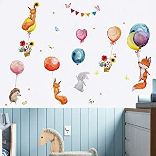 Holly LifePro Fox Rabbit Airball Wall Decal Poster Lettering Wall Stickers Murals for Boys Bedroom Playroom Art Design Sti...