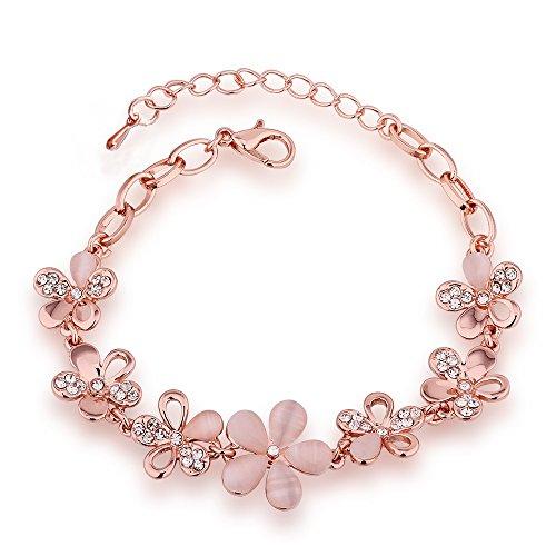 QueenDer 'Amore Puro Rose Petalo Bracciale, Placcato Rose Opale Bracciale da Donna per Lady Donne Ragazze Fiore Braccialetto
