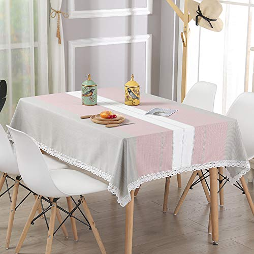 Katoenen en linnen tafelkleed gestreept salontafelkleed tafelkleed, brede strookroze, 80 * 80cm