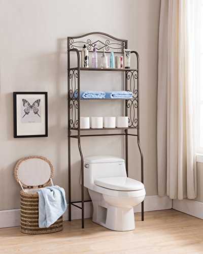 Kings Brand Furniture - Over The Toilet Storage Etagere Bathroom Rack Shelves Organizer, Pewter