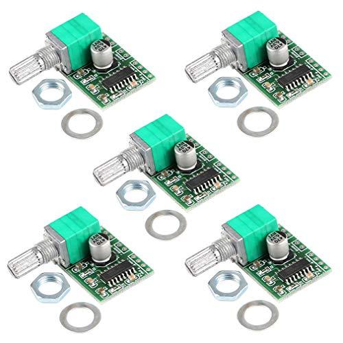 Mini-Audio-Verstärker (3 W + 3 W DC 5 V) von HiLetgo® -  5 Stück, handlich, digitale Stromverstärker für Endverstärker, Zweikanal-PAM8403-Stereoverstärker mit Potentiometer für Eigenprojekte,  tragbar