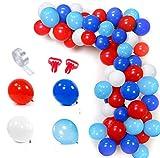 SPECOOL Globos Blancos y Azules Rojos Azul Claro Globo Kit de Guirnalda 100 Globos Arco de 16 Pies Raya Cinta 2 Piezas Herramienta para Cumpleaños Graduaciones Superhéroe Decoración de Fiesta Temática