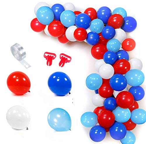 MMTX Red White Blue Light Blue Balloon Garland Kit 100 Balloons Arch Set with 16ft Balloon Stripe Tape Kit 2 Pieces Tool for Birthday Graduations Superhero Themed Party Decor
