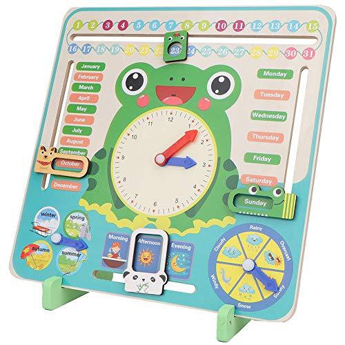Calendario de madera Reloj de montaje en pared, Todo sobre hoy Tablero del calendario Aprendizaje educativo preescolar Juguete cognitivo de madera para niños pequeños