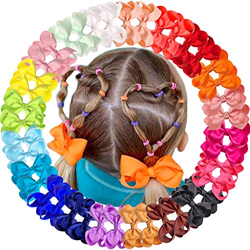40pcs Little Girls Hair Bows Clips In Pairs Mix Colors Pigtail Cheer Bow Alligator Hair Clips for Baby Girls Toddlers Kids