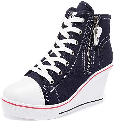 Solshine Damen Canvas Sneaker Wedge Turnschuhe mit 8cm Keilabsatz 689 Dunkelblau 38EU