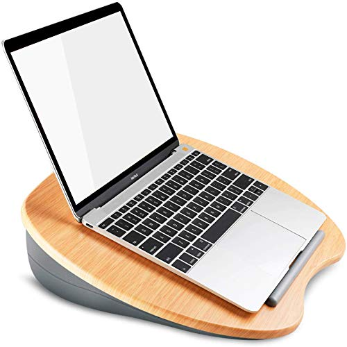 HuaNuo Supporto per Laptop con Cuscino su Letto & Divano, Supporto per Monitor, Scrivania per Ginocchio con Foro per Cavi e Striscia Antiscivolo, Adatto per Laptop Fino a 15,6'