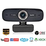 Spedal Full HD Webcam 1080p, Live Streaming PC Camera con Microfono, Webcam USB per Xbox OBS XSplit Facebook Skype, Compatibile per Mac OS Windows 10/8/7