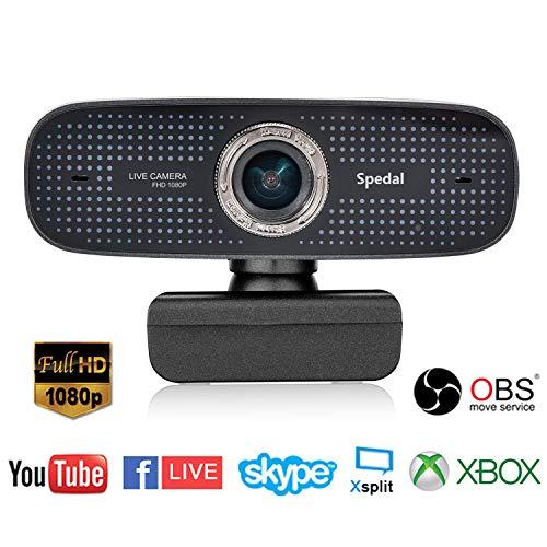 Spedal Webcam 1080p, Streaming Cámara Web con Micrófono, USB Webcam para Xbox OBS XSplit Skype Facebook, Compatible con Mac OS Windows 10/8/7