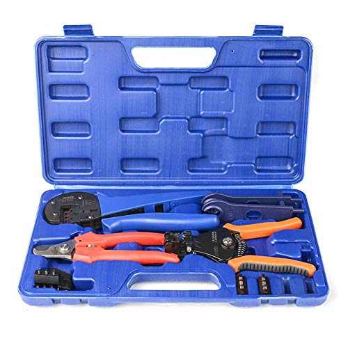 IWISS Solar Crimping Tool Kit with Wire Cable Cutter, Stripper, Crimper and Connectors Assembly and Disassembly Tool Solar PV Panel Tool Kit