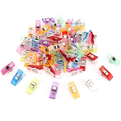 KinQuee 50PCS – Sewing Clips for Fabric, Small Premium Quilting Clips, Wonder Clips of Assorted Colors
