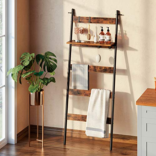 Rolanstar Ladder Shelf for Blanket, Wall-Leaning Blanket Rack with an Adjustable Shelf and 4 Hanging Hooks, 5-Tier Farmhouse Leaning Shelf for Bathroom, Living Room,Rustic Brown
