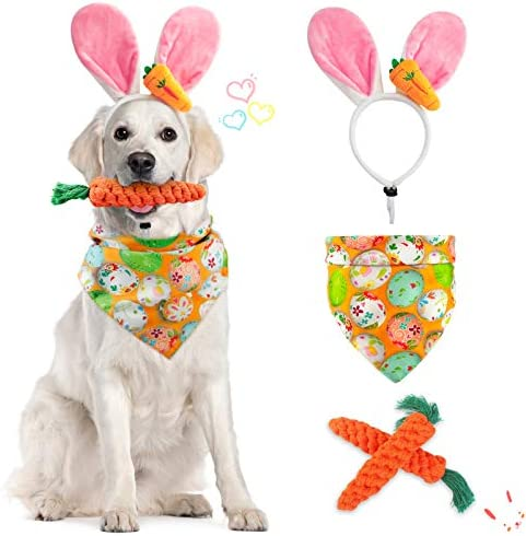 Dorakitten Dog Easter Costumes Adorable Bunny Ears Headband Cute Dog Bandana Funny Carrot Shape product image