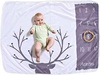 Baby Monthly Milestone Blanket For Girl Boy Floral Deer Horn Frame Newborn Photo Prop Background Not Wrinkle Or Fade … (C)
