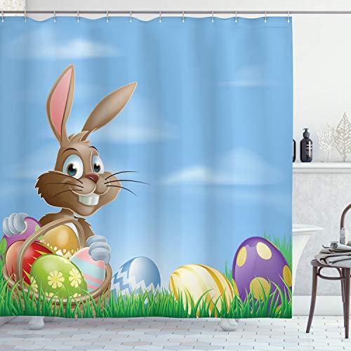 ABAKUHAUS Ostern Duschvorhang, Bemalte Ostereier, Personenspezifisch Druck inkl.12 Haken Farbfest Dekorative mit Klaren Farben, 175 x 180 cm, Multicolor