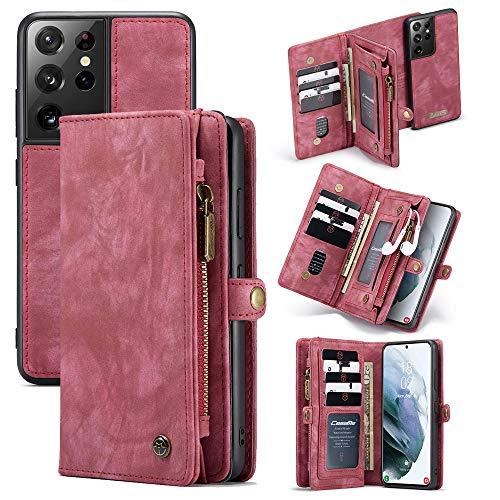 hodudu 2-in-1 Geldbörse aus TPU Leder Design Flip Magnet Kartenhalter Slot Luxus Reißverschluss 2021 Abnehmbare Stylische Cover Brieftasche Holster für Samsung Galaxy S21 5G Damen Herren Rot
