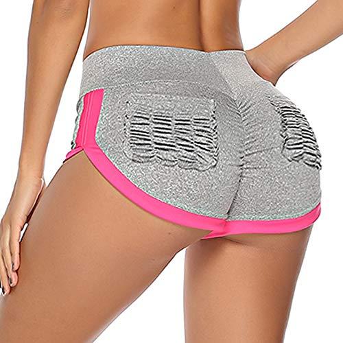 STARBILD Shorts Pantalones Cortos Deportivos Cintura Alta Elástica para Push UP Control de Barriga para Mujer Yoga Diario Correr Fitness Gris XL