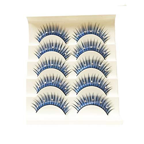 Cinq Paires De Faux Cils Exagérés, Bleu Avec Des Cils De Diamant, Le Stade Cils Cristal Maquillage Latine,B