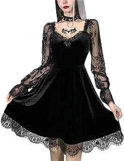 Greetuny Women Halloween Dress Y2k Gothic Black Lace Dress Lace Stitching V-Neck Long Flare Sleeve Dress