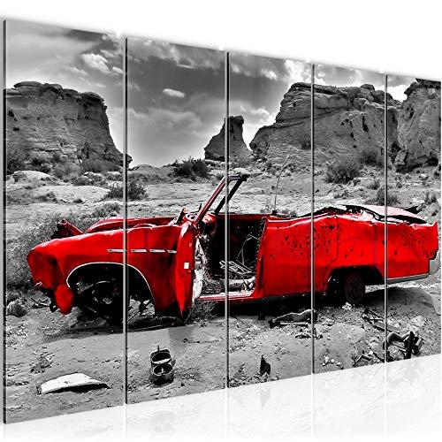 Bilder Auto Grand Canyon Wandbild 200 x 80 cm Vlies - Leinwand Bild XXL Format Wandbilder Wohnzimmer Wohnung Deko Kunstdrucke Rot 5 Teilig - MADE IN GERMANY - Fertig zum Aufhängen 602255a