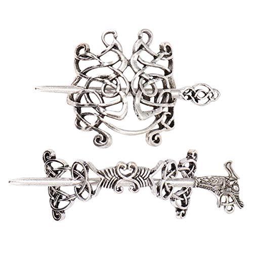 2pcs Celtic Hairpin Vintage Alloy Hair Clip Viking Hair Accessories Decorative Hair Ornaments for Woman Men (Silver)