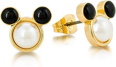 Disney Couture Kingdom Topolino placcato oro giallo con perle orecchini da ragazza, gioielli