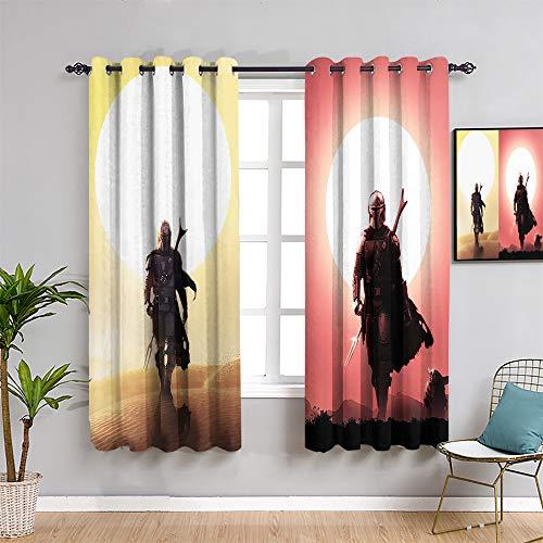 Ficldxc Star Wars - Cortinas opacas para decoración de sala de estar, 183 cm de largo de la serie de televisión mandalorian como regalo para niños, 2 paneles de ancho x 72 pulgadas de largo