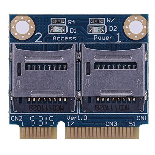 Occitop pic-e Adapter Card miniPCIE Transfer TF Card MicroSD/SDHC/SDXC Dual car