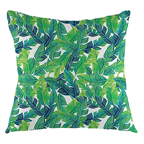 Banana Leaf Throw Pillow Cushion Cover Black and White Geometrical Backdrop with Hibiscus and Birds of Paradise Flower Decorative Square Accent Pillow Case, 24' X 24',Multicolor-2