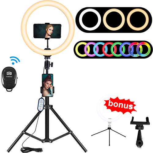 10.2' RGB Selfie Ring Light, RGB Flash Ring Light with Tripod Stand & Cell Phone Holder, LED...