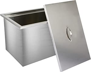 HONYTA Drop in Ice Chest 22Lx17W Inch with Sliding Cover 304 Stainless Steel Drop in Cooler and Drop in Ice Bin for Cold Wine Beer