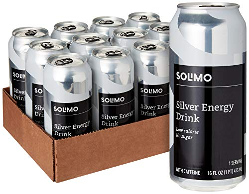 Amazon Brand - Solimo Silver Energy Drink, Sugar Free, 16 Fluid Ounce (Pack of 12)