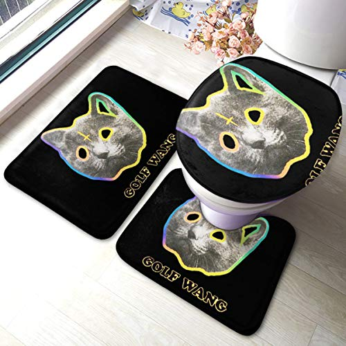 OFWGKTA Golf Wang Cat Bathroom Rug Mats Set 3 Piece Anti-Skid Pads Bath Mat + Contour + Toilet Lid Cover Bathroom Antiskid Pad
