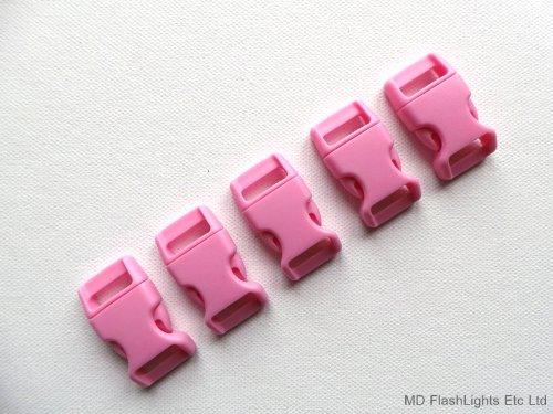 Lot de 5 boucles de bracelet de survie incurvées en paracorde à libération rapide Rose 15 mm