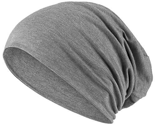 Hatstar Slouch Long Beanie 2in1 Reversible Jersey Mütze in 45 Farben (1 farbig | hellgrau)