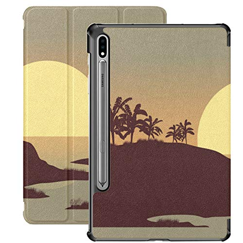 Funda Galaxy Tablet S7 Plus de 12,4 Pulgadas 2020 con Soporte para bolígrafo S, Sunset In The River Vector Funda Protectora Tipo Folio con Soporte Delgado para Samsung