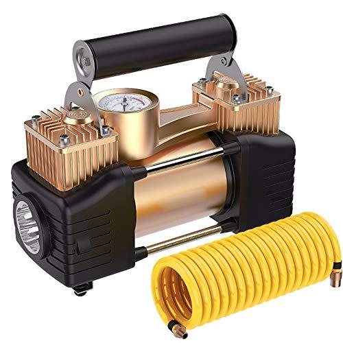 Cabzswh Bomba Inflable portátil del neumático del Coche del compresor de Aire del Coche del Tipo 12V portátil con la lámpara de la indirecta para Las Furgonetas de los Coches, Gold