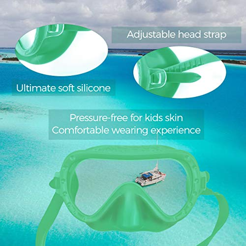 MONKEY FOREST Snorkeling Set for Kids, Anti-Fog No Leak Adjustable Snorkeling Gear Free Breathing Scuba Snorkel Mask and Wet Snorkel with Mesh Bag for Boys and Girls (Green)