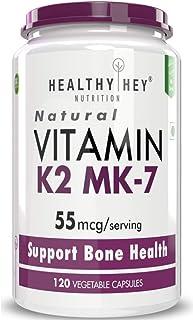 Healthyhey Nutrition Vitamin K2-MK7-100% Vegetarian Source - Support Bone Health - 55mcg - 120 Vegetable Capsules (120)