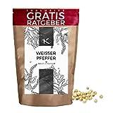 Weißer Pfeffer ganz 150g   Gourmet Pfeffer weiß inkl. Gratis Ratgeber   Qualitäts weiße Pfefferkörner für Pfeffermühle Reibe - Gewürze im Nachfüllpack