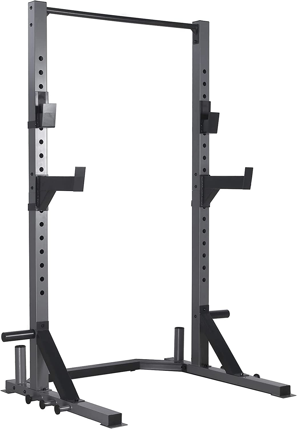 MENCIRO Power Rack, Deluxe Squat Rack with Pull Up Bar, J-Hooks and Safety Catches for Home Gym Full Body Multi-Function Fitness Workout Like Pull ups, Squats, Deadlifts, Bench Press